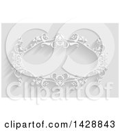 Clipart Of A White Ornate Vintage Floral Frame On Gray With Shadows Royalty Free Vector Illustration