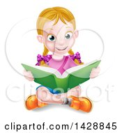 Clipart Of A Happy White School Girl Reading A Book On The Floor Royalty Free Vector Illustration