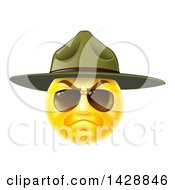 Clipart Of A Stern Emoji Smiley Face Emoticon Face Army Drill Sergeant Wearing Sunglasses And A Hat Royalty Free Vector Illustration by AtStockIllustration