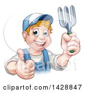 Clipart Of A Cartoon Happy White Male Gardener In Blue Holding A Garden Fork And Giving A Thumb Up Over A Sign Royalty Free Vector Illustration