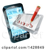 Clipart Of A 3d Pencil And Survey Check List Emerging From A Smart Cell Phone Screen Royalty Free Vector Illustration by AtStockIllustration