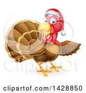 Clipart Of A Christmas Turkey Bird Wearing A Santa Hat And Pointing Royalty Free Vector Illustration