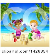 Happy White And Black Girls Playing And Making Sand Castles On A Tropical Beach