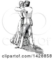 Clipart Of A Vintage Black And White Sketched Woman And Soldier Kissing Royalty Free Vector Illustration by Prawny Vintage