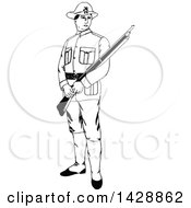 Clipart Of A Vintage Black And White Sketched Soldier Holding A Rifle Royalty Free Vector Illustration