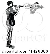 Vintage Black And White Sketched Bugler