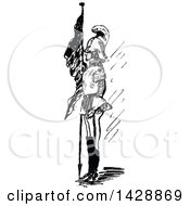 Vintage Black And White Sketched Soldier