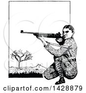 Clipart Of A Vintage Black And White Sketched Soldier Shooting Royalty Free Vector Illustration