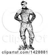 Vintage Black And White Sketched Beat Up Football Player