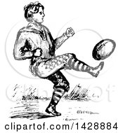 Vintage Black And White Sketched Man Playing Football