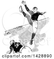 Vintage Black And White Sketched Football Players