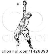 Vintage Black And White Sketched Baseball Player