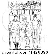 Vintage Black And White Sketched Woman And Men With Athletics Text