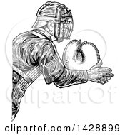 Vintage Black And White Sketched Baseball Player Catcher With Reach Text On His Arm