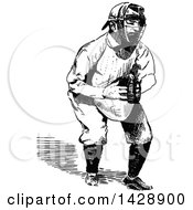 Vintage Black And White Sketched Baseball Player Catcher