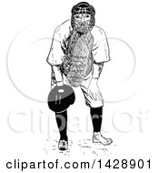 Poster, Art Print Of Vintage Black And White Sketched Baseball Player Catcher