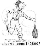 Clipart Of A Vintage Black And White Sketched Tennis Player Royalty Free Vector Illustration by Prawny Vintage