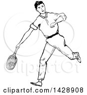 Vintage Black And White Sketched Tennis Player