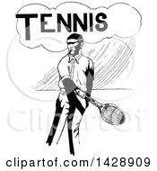 Clipart Of A Vintage Black And White Sketched Tennis Player Royalty Free Vector Illustration