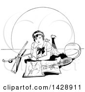 Clipart Of A Vintage Black And White Sketched Woman With Sports Equipment Royalty Free Vector Illustration