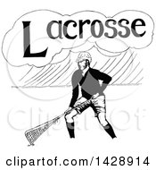 Vintage Black And White Sketched Lacrosse Player