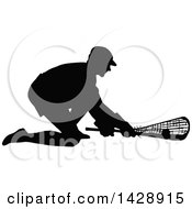 Vintage Black Silhouetted Lacrosse Player