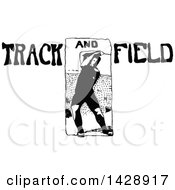 Vintage Black And White Sketched Track And Field Athlete
