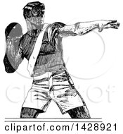 Vintage Black And White Sketched Shot Putter Athlete