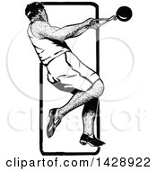 Clipart Of A Vintage Black And White Sketched Track And Field Hammer Throw Athlete Royalty Free Vector Illustration