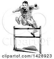 Clipart Of A Vintage Black And White Sketched Track Athlete Leaping A Hurdle Royalty Free Vector Illustration