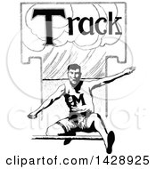 Vintage Black And White Sketched Track Athlete Leaping A Hurdle