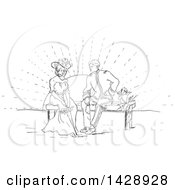 Clipart Of A Vintage Black And White Sketched Cherub And Couple On A Bench At Sunset Royalty Free Vector Illustration