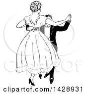 Clipart Of A Vintage Black And White Sketched Couple Dancing Royalty Free Vector Illustration
