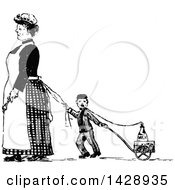 Clipart Of A Vintage Black And White Sketched Maid And Boy Pulling A Milk Wagon Royalty Free Vector Illustration