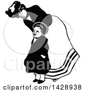 Clipart Of A Vintage Black And White Nanny And Fussy Boy Royalty Free Vector Illustration