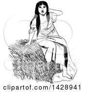 Vintage Black And White Sketched Woman On Straw