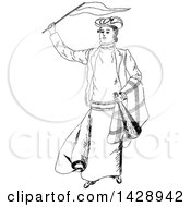 Vintage Black And White Sketched Person Waving A Flag