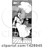 Vintage Black And White Sketched Sailor Woman Watching Boats