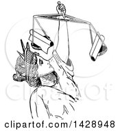 Clipart Of A Vintage Black And White Sketched Lady Justice Royalty Free Vector Illustration