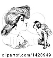 Vintage Black And White Sketched Woman And Cupid