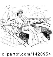 Vintage Black And White Sketched Woman In A Nautical Dress