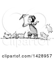 Vintage Black And White Woma Holding An Umbrella Surrounded By Her Cats