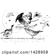 Clipart Of A Vintage Black And White Woman Dancing With Birds All Around Her And On Her Hat Royalty Free Vector Illustration