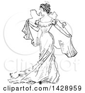 Poster, Art Print Of Vintage Black And White Sketched Woman Holding A Map Behind Her