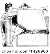 Vintage Black And White Sketched Woman Blowing A Horn