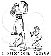 Vintage Black And White Sketched Woman Playing A Tambourine And Dancing With A Cherub