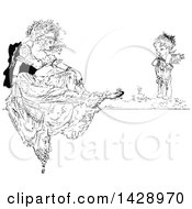 Clipart Of A Vintage Black And White Sketched Woman And Cherub Royalty Free Vector Illustration by Prawny Vintage
