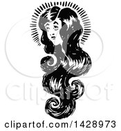 Clipart Of A Vintage Black And White Woman With Long Hair Royalty Free Vector Illustration by Prawny Vintage