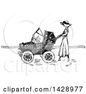 Vintage Black And White Sketched Woman Pushing A Baby In A Car Stroller