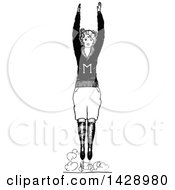 Clipart Of A Vintage Black And White Sketched Cheerleader Royalty Free Vector Illustration